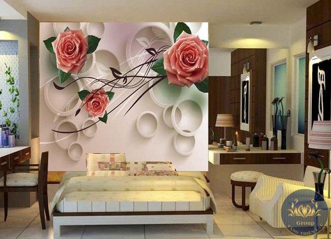Tranh dán tường 3D phòng ngủ hoa hồng làm cho vợ chồng thấy hạnh phúc khắn khít hơn
