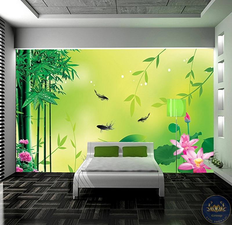 Tranh dán tường 3D phòng ngủ hoa sen thoáng mát làm cho gia chủ an lạc trong giấc ngủ