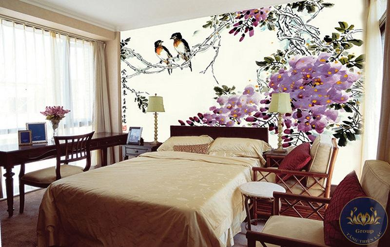 Tranh dán tường 3D phòng ngủ vợ chồng thấy hấp dẫn chuyện tình cảm