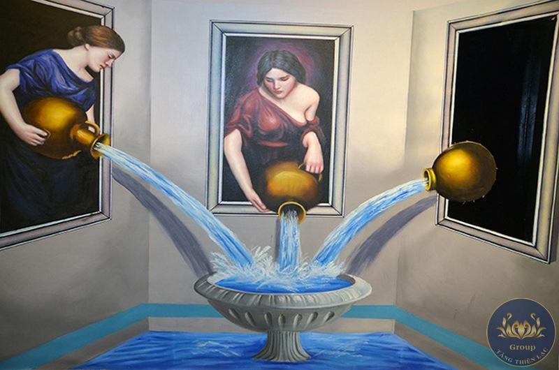 Tranh 3D cổ điển phòng tắm nghệ thuật