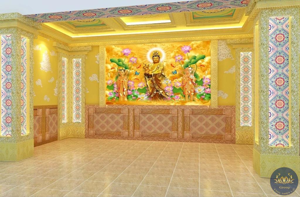 Tranh 3D phòng thờ trang nghiêm thanh tịnh cho gia chủ sức khỏe và bình an