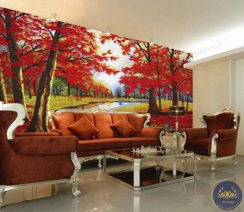 Tranh 3D rừng cây lá đỏ mang lại sự vượng khí thu hút tài lộc cho gia chủ