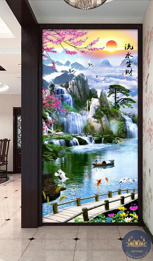 Tranh 3D sơn thủy khổ dọc tạo sinh khí cho phòng khách