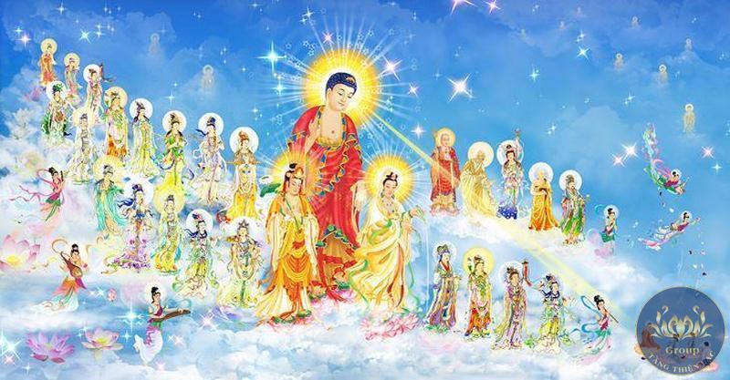 Tranh 3D dán tường Tây Phương Thánh Chúng A Di Đà Phật