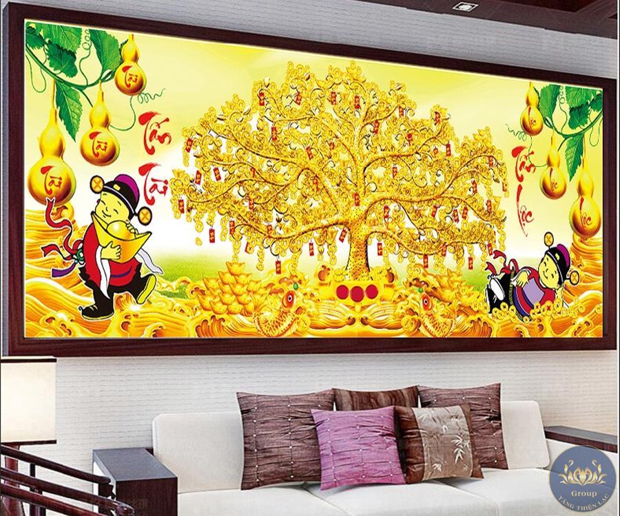 tranh thêu chữ thập 5D cây tài lộc mang lộc vào nhà cho gia chủ giàu to