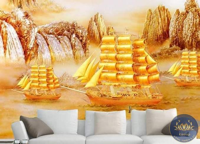 Tranh dán tường 3D thuận buồm xuôi gió phòng khách tạo cho gia chủ tự tin thành công thắng lợi vẻ vang