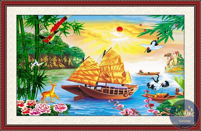 Tranh treo tường thuyền buồm, phong thuỷ làm cho công ty gặp nhiều thuận lợi trong kinh doanh