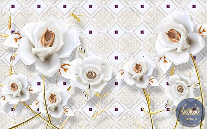 Mẫu tranh hoa hồng trắng làm say mê người xem bởi vẻ đẹp trong sáng, thanh cao