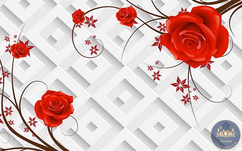 Tranh hoa hồng đỏ là biểu tượng của tình yêu bất diệt, nồng nàn của lứa đôi