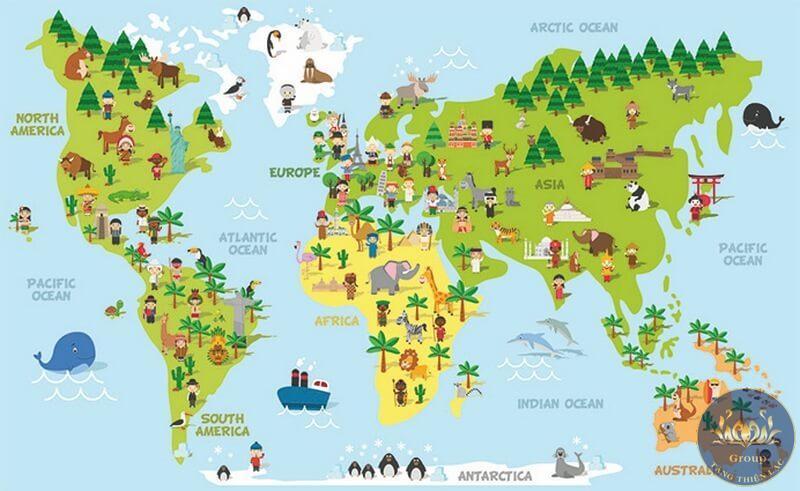 Tranh bản đồ thế giới thể hiện vị trí phân bố của động vật, thực vật ngộ nghĩnh