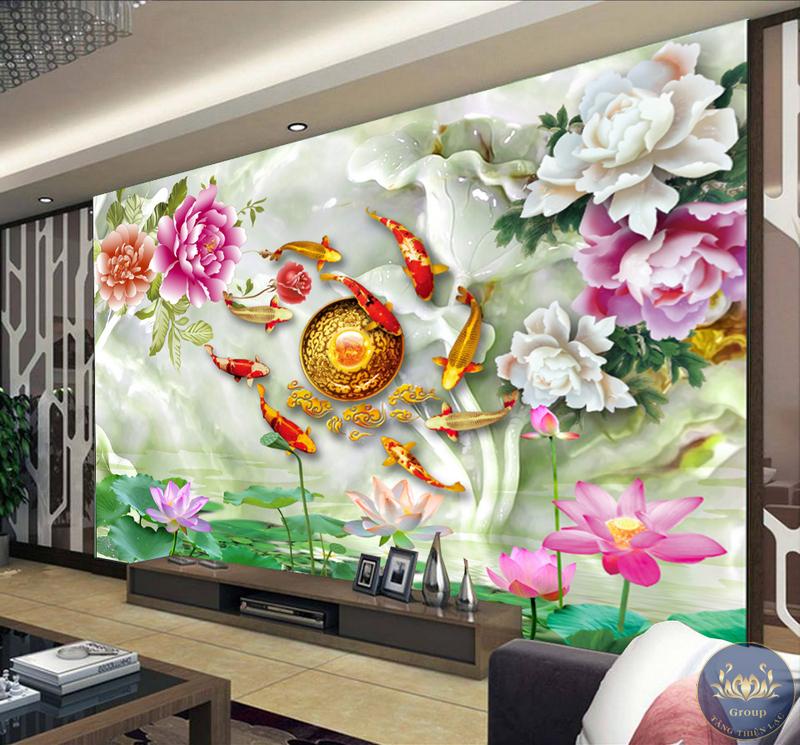 Tranh dán tường giả ngọc giúp phòng khách sang trọng, đẳng cấp