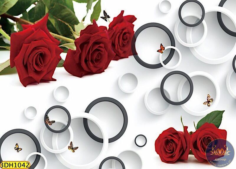 Tranh hoa hồng 3D dán tường Hàn Quốc có hình ảnh sắc nét như thật