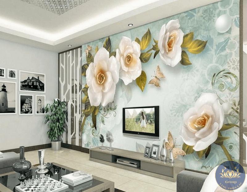 Treo tranh hoa hồng tại phòng khách để thể hiện sự bình yên và mong cầu hạnh phúc cho gia đình
