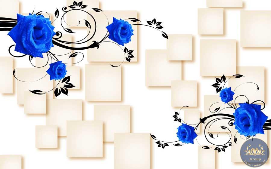Tranh dán tường 3D Hoa Hồng Xanh tượng trưng cho sự hy vọng tình yêu vĩnh cửu