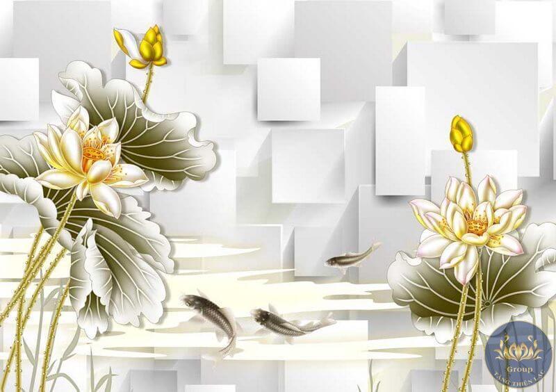 Bức tranh dán tường hoa sen
