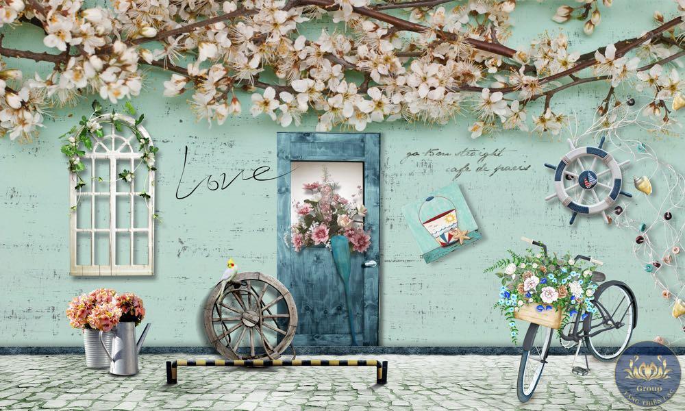 Mẫu tranh dán tường quán trà sữa