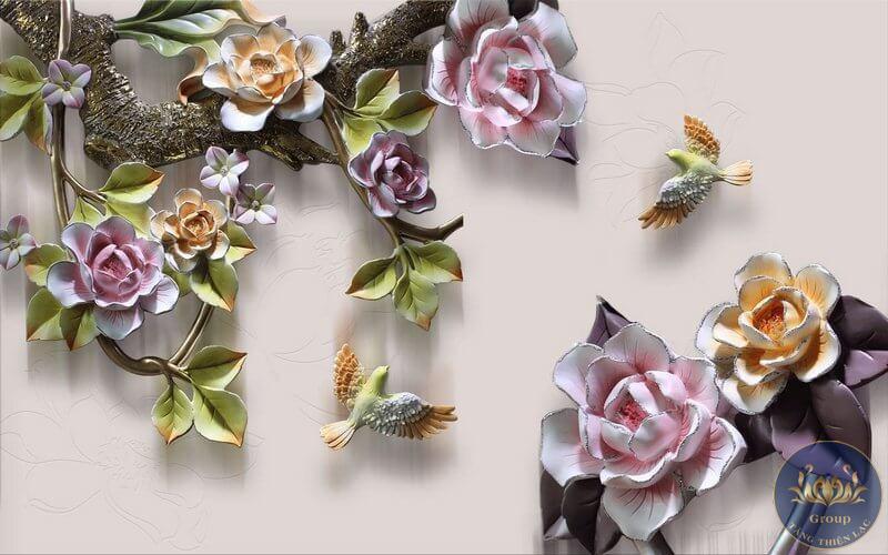 Tranh dán tường hoa 3D quận 6