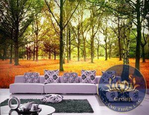 Tranh dán tường mùa thu mang nhiều màu sắc khác nhau