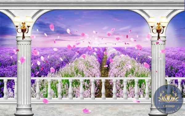 Tranh dán tường 3D cửa sổ bắt mắt được nhiều người yêu thích.