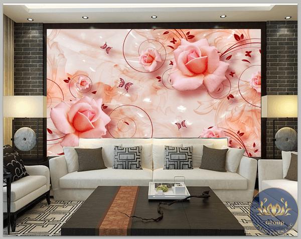 Tranh dán tường Hoa hồng mang sự lãng mạn vào không gian
