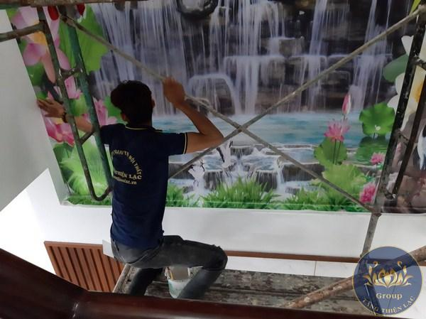Tranh dán tường 3D thác nước cho gia chủ Mệnh mộc