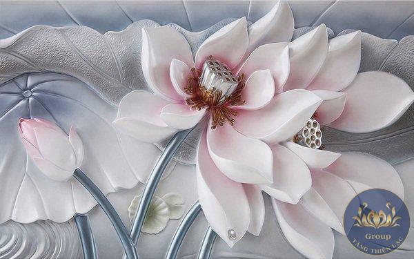 Tranh dán tường 3D 5D 8D hoa đẹp