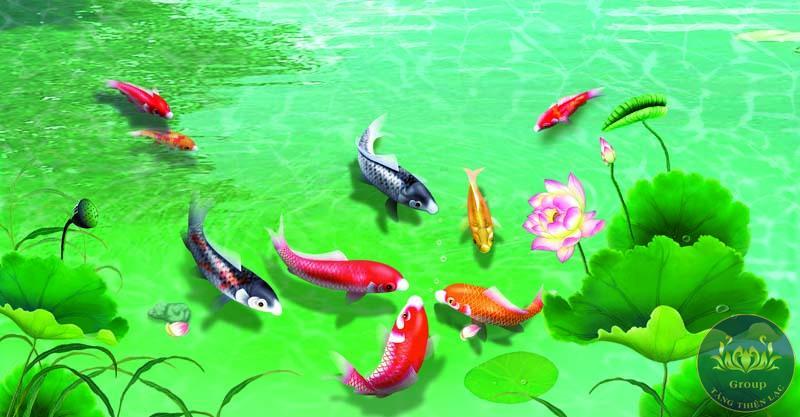 Tranh dán tường 3D cá chép phong thủy đỏ đen
