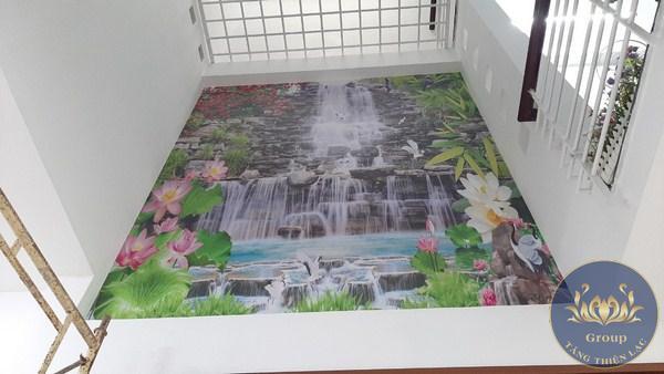 Tranh dán tường 3D thác nước