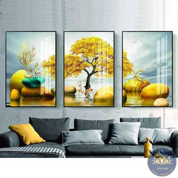 Tranh cây Tài Lộc màu vàng