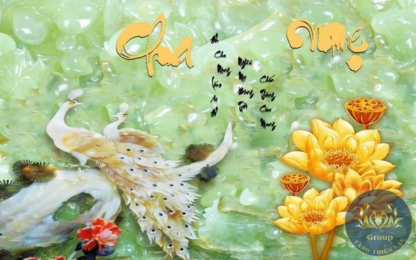 Tranh dán tường 3D chim công ngọc bích